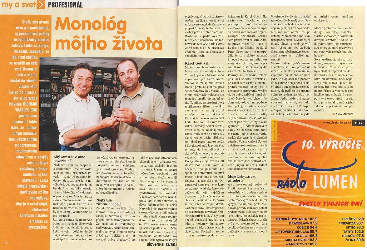 Časopis Slovenka 23/2003: Monológ môjho života