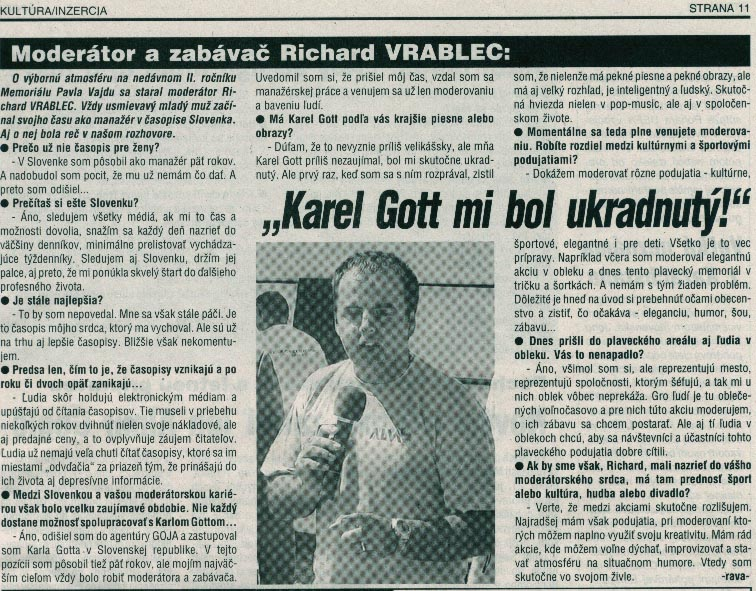 Púchovské noviny 25.6.2002: Karel Gott mi bol ukradnutý!